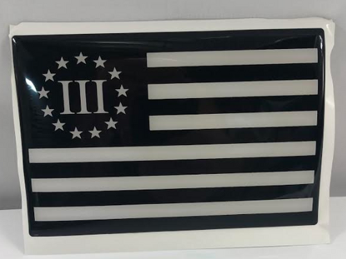 "1 NEW ""III FLAG""  5""x 5""x1/8"" SOLID HEAVY DUTY STICKER"