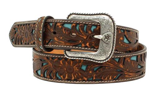 Men's Brown Floral Embossed Turquoise Underlay Leather Belt