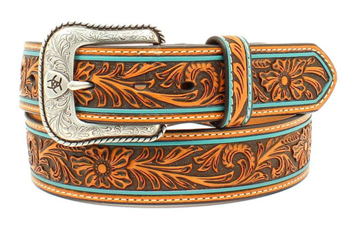 Men's Tan Floral Embossed Turquoise Edge Leather Belt