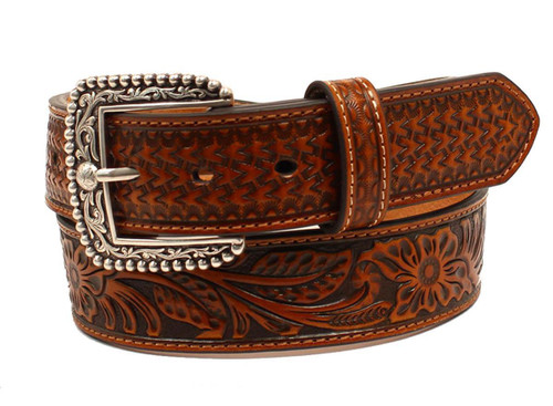 Men's Scroll Embossed Basketweave Tan Leather Belt