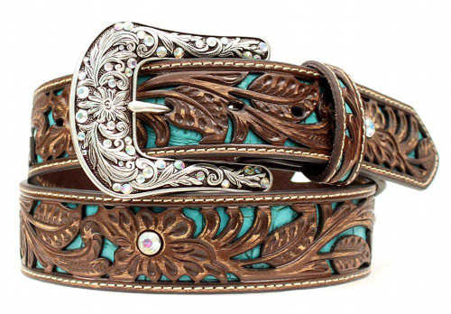 Women's Brown Western Belt with Turquoise Inlay