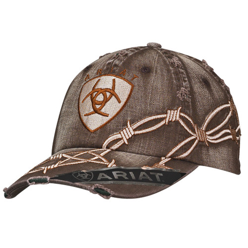 Men's Distressed Brown Barbwire Ball Cap