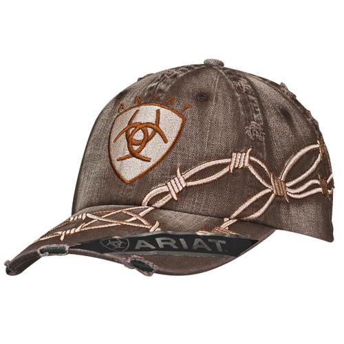 Men's Distressed Brown Barbwire Ball Cap
