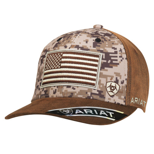 Men's Brown Oilskin Camo Ball Cap with Flag