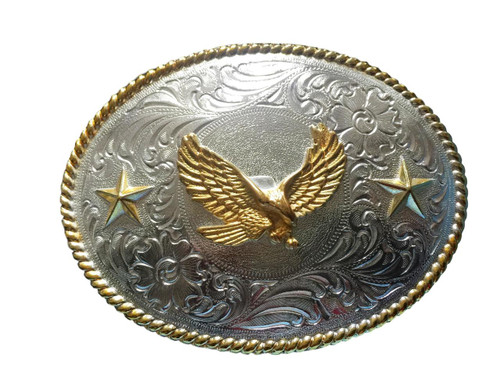 Men's Oval Silver/Gold Eagle Buckle