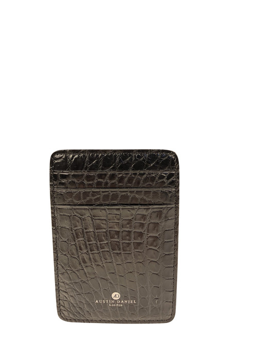 Men's Genuine Alligator Black Money Clip