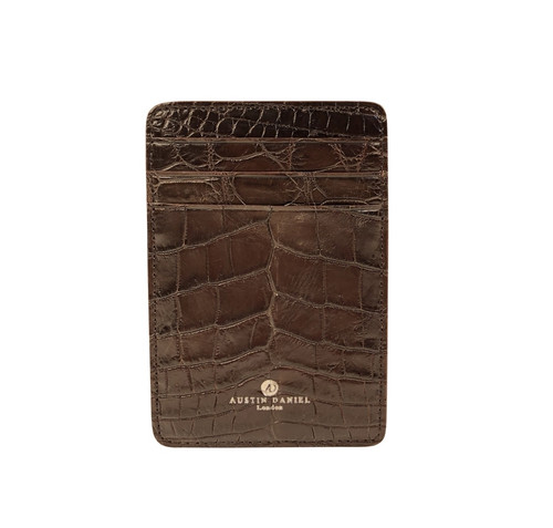 Men's Genuine Alligator Brown Money Clip