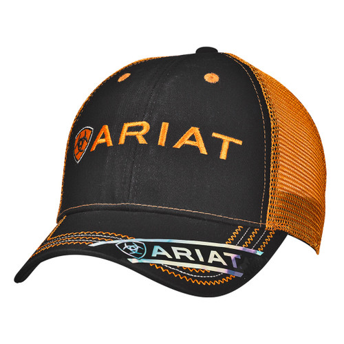 Men's Black and Orange Cotton Ball Cap