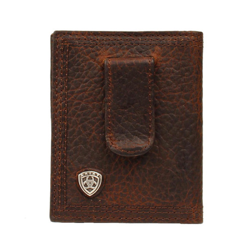 Men's Brown Rowdy Bifold Money Clip Front Pocket Wallet