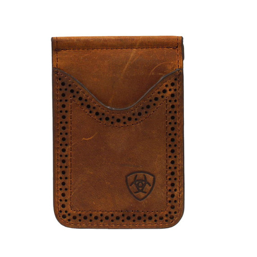 Men's Dark Brown Bifold Money Clip Wallet