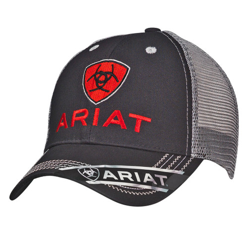 Men's Black and Red Cotton Ball Cap
