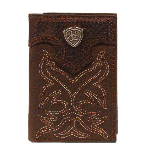 Men's Dark Brown Boot Stitch Trifold Wallet