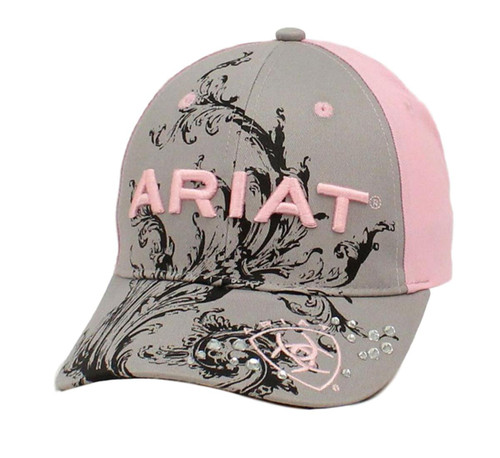 Women's Pink and Grey Embroidered Ball Cap