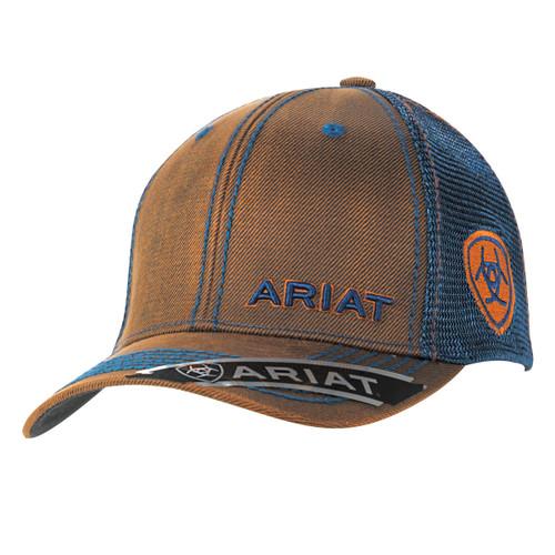 Men's Brown and Navy Oilskin Ball Cap