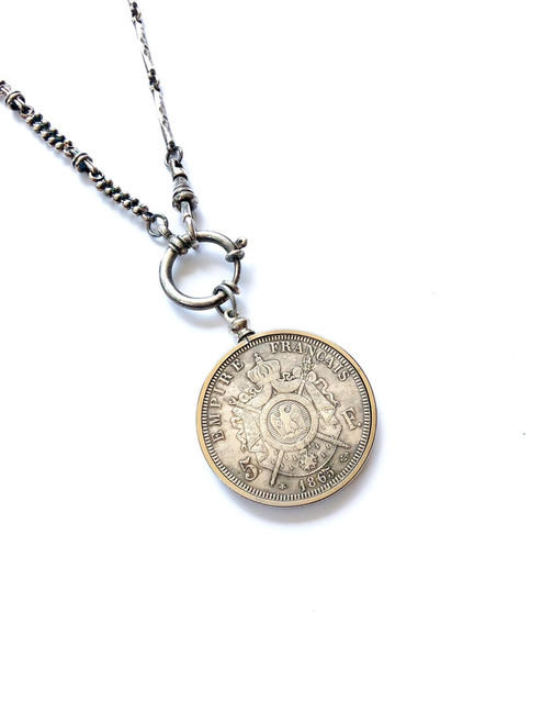 Silver Vintage Watch Chain Necklace with French Coin