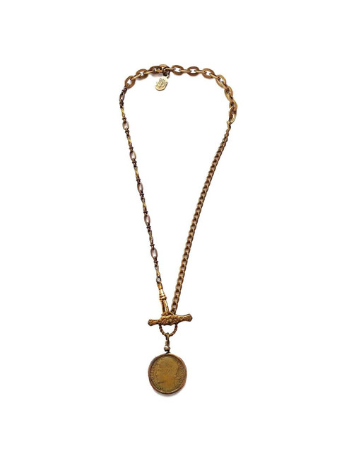 Gold Vintage Watch Chain Necklace with French Coin
