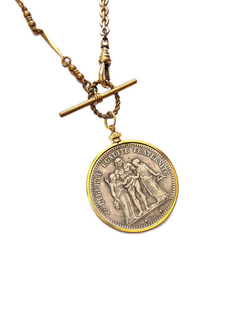 Gold Vintage Watch Chain Necklace with Large French Coin