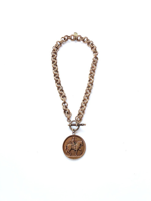 Vintage Rose Gold Necklace with French Medallion