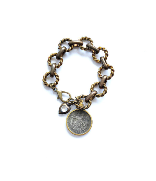 Vintage Bronze Bracelet with Romanian Coin