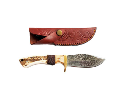 Damascus Blade Game Skinner with Stag Handle