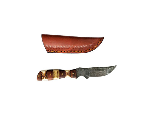Damascus Blade Knife with Mixed Stag Wood Handle