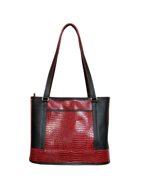 Red and Black Croco Embossed Travelers Tote