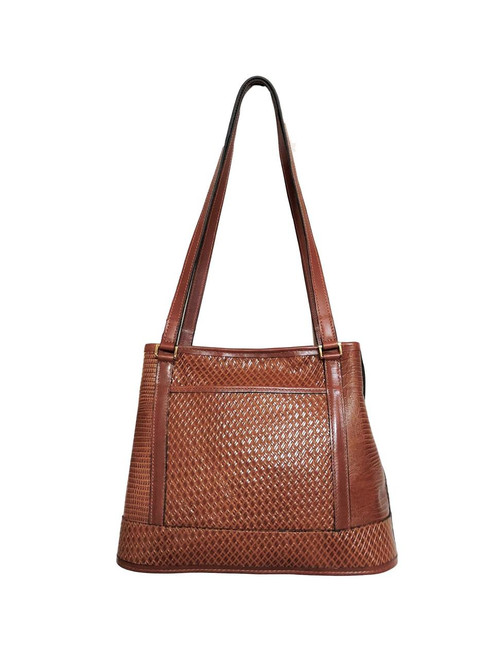 Tuscanny Cherry Wood Leather Divided Tote