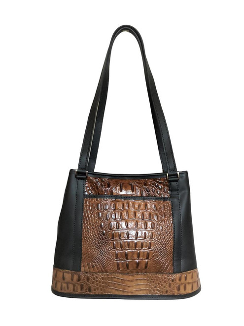 Caramel and Black Croco Embossed Divided Leather Tote