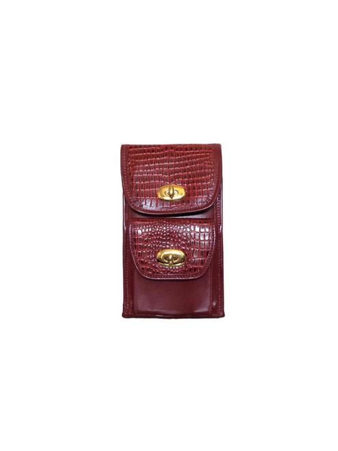 Red Leather Vertical Wallet Crossbody