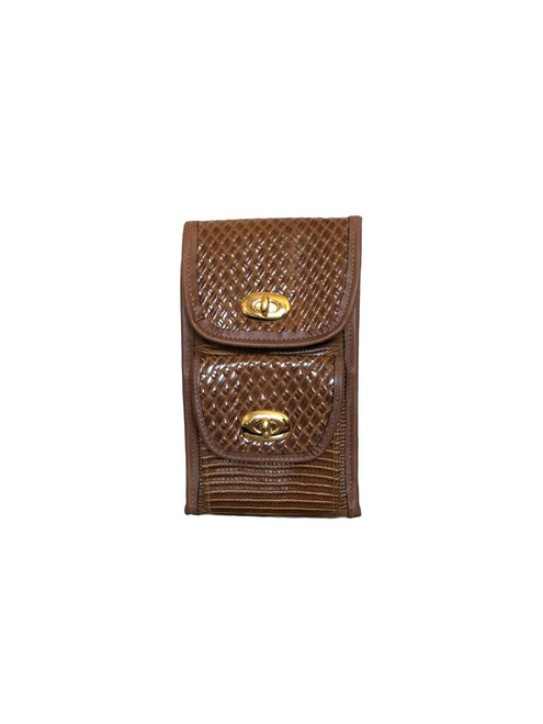 Tuscany Cherry Wood Leather Vertical Wallet Crossbody