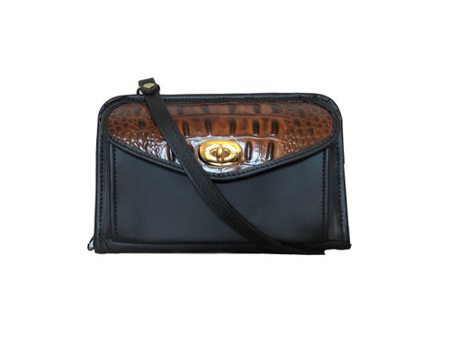 Black and Caramel Leather Horizontal Wallet Crossbody