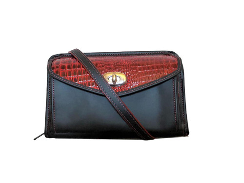 Black and Red Leather Horizontal Wallet Crossbody