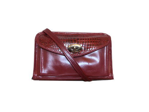 Red Croco Leather Horizontal Wallet Crossbody
