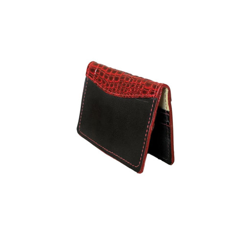 Red and Black Leather Bifold Credit Card Case