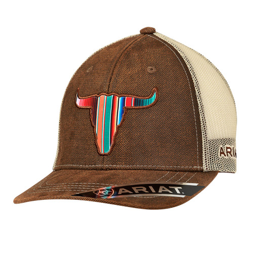 Men's Brown Oilskin Ball Cap with Serape Bull Head