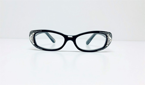 Women's Clear Swarovski Crystal Black Readers