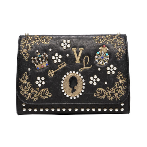 Pearly Queens Black Shoulder Bag