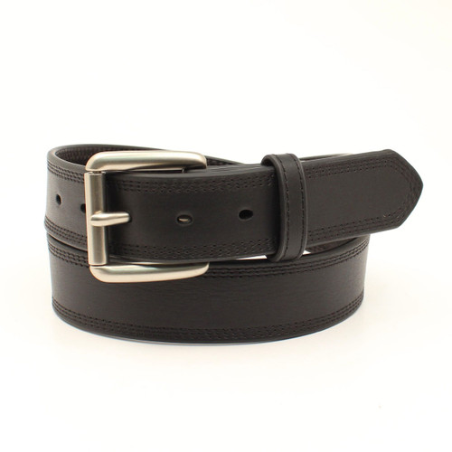 Men's Classic Smooth Black Leather Belt
