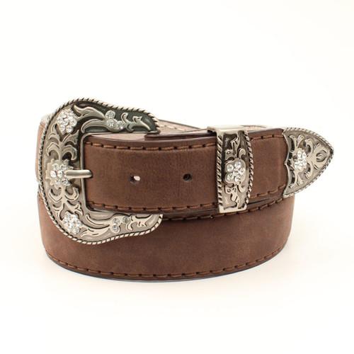 Women's Brown Western Belt with Antique Silver Buckle Set