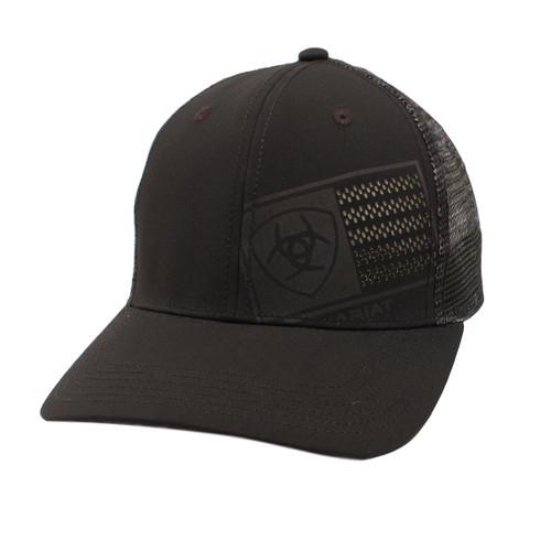 Men's Black Laser Cut Logo and Flag Ball Cap