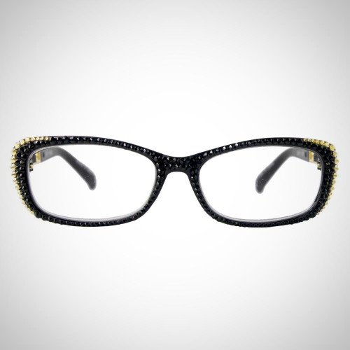 Women's Black and Gold Swarovski Crystal Readers