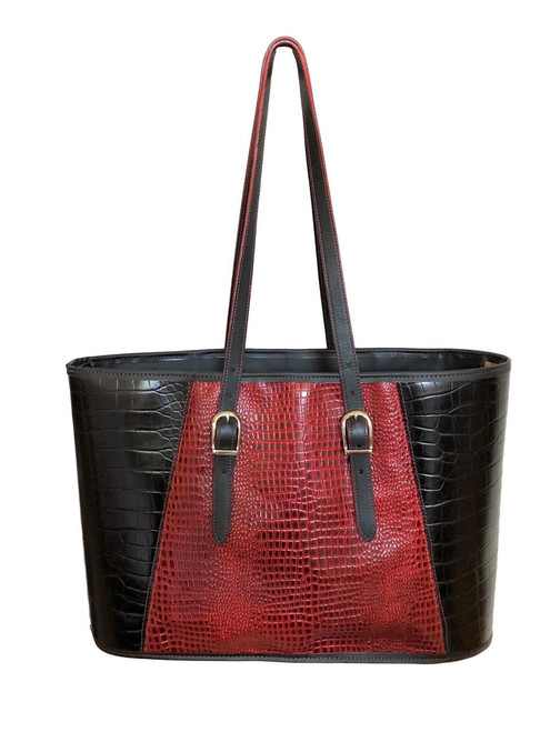 Red and Black Croco Embossed Leather Quintessential Tote