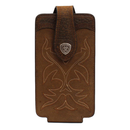 Large Brown Leather Boot Stitch Cell Phone Case