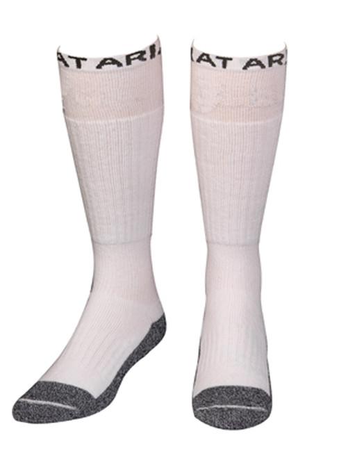 Men's White Over the Calf Fully Cushioned Socks
