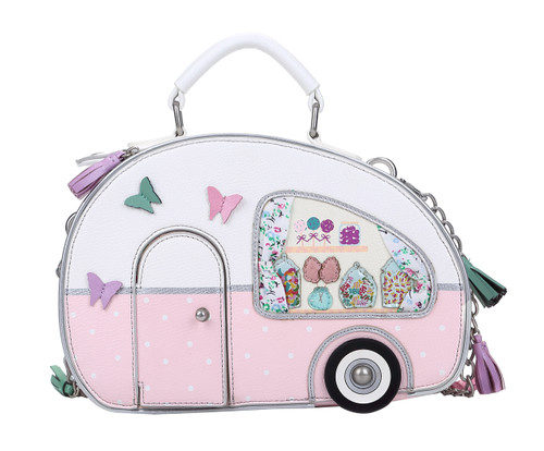 Pink and White Sweetie Caravan RV-Shaped Box Bag