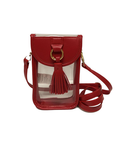 Stadium Clear Bag Cell Phone Crossbody with Red Trim