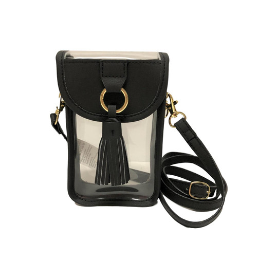 Stadium Clear Bag Cell Phone Crossbody with Black Trim