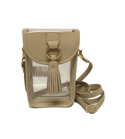Stadium Clear Bag Cell Phone Crossbody with Tan Trim