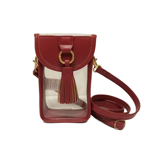 Stadium Clear Bag Cell Phone Crossbody with Crimson Trim