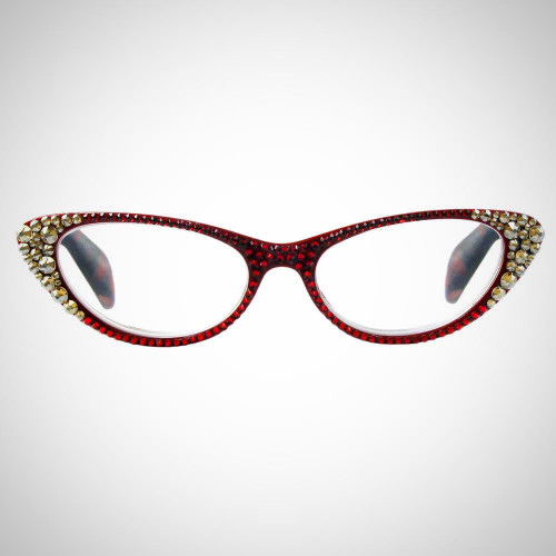 Women's Red Readers with Red and Gold Swarovski Crystals